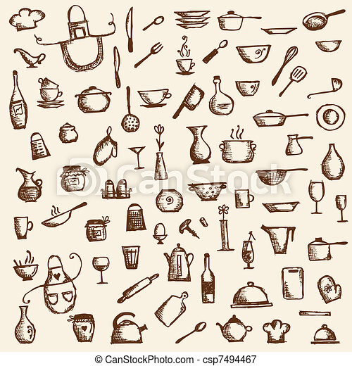 Kitchen utensils, sketch drawing for your design - csp7494467