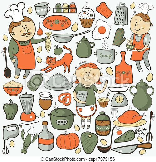 Kitchen vector set, cartoon colorful elements - csp17373156