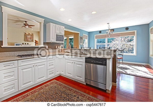 Kitchen White With Cherry Floor And Blue Walls Canstock
