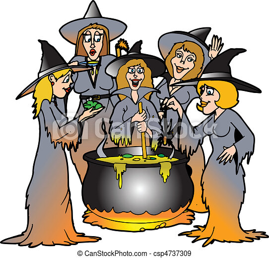 kitchen witches a bunch of witches surrounding a cauldron of brew rh canstockphoto com witch clip art png witch clip art black and white