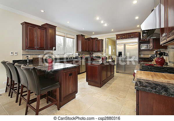 Kitchen with cherry wood cabinetry - csp2880316