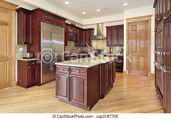 Kitchen with cherry wood cabinetry - csp3187705