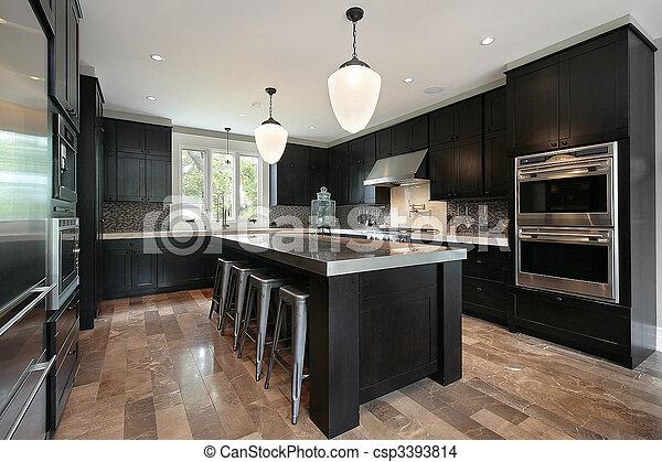 Kitchen with dark wood cabinetry - csp3393814