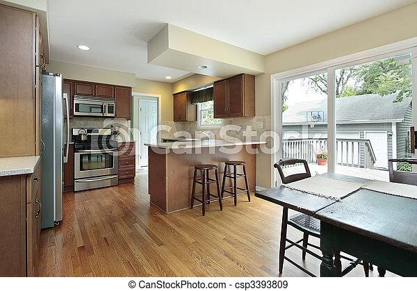 Kitchen with deck view - csp3393809