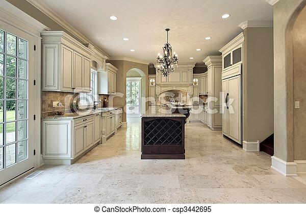 Kitchen with double deck island - csp3442695