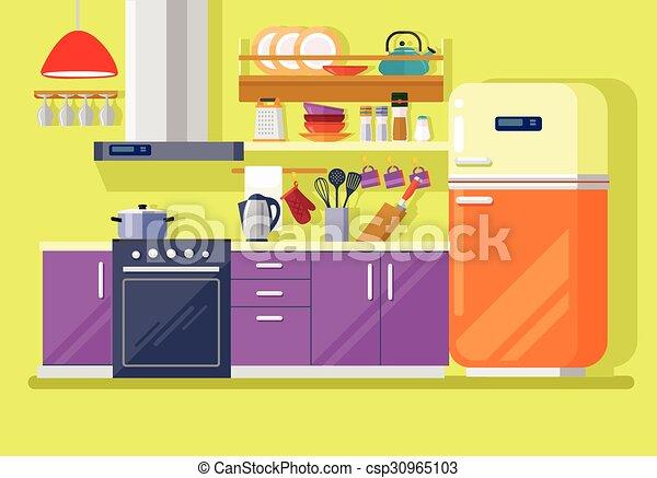 Kitchen with furniture - csp30965103
