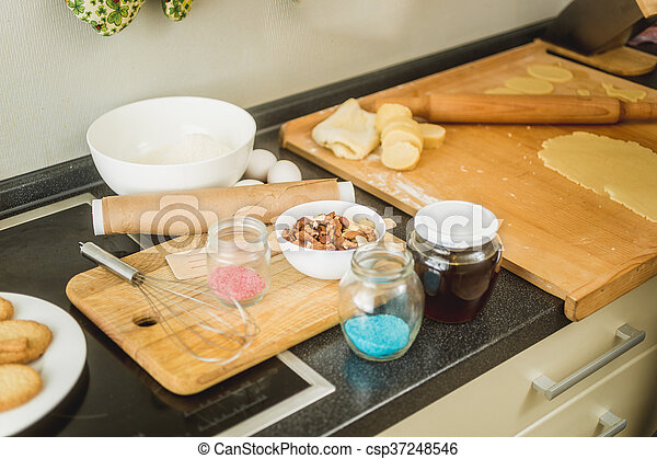 Kitchen With Ingredients For Baking Lying On Working Table   Csp37248546