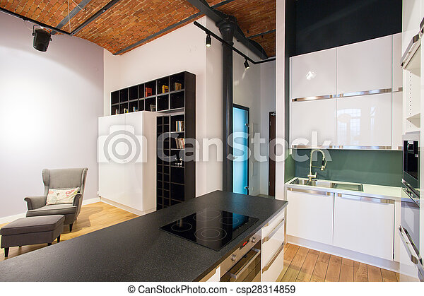 Kitchen with living room - csp28314859
