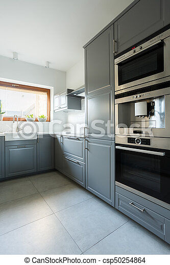 Kitchen With Olive Green Cabinets Luxury Kitchen Interior With Olive Green Cabinets And Appliances Canstock