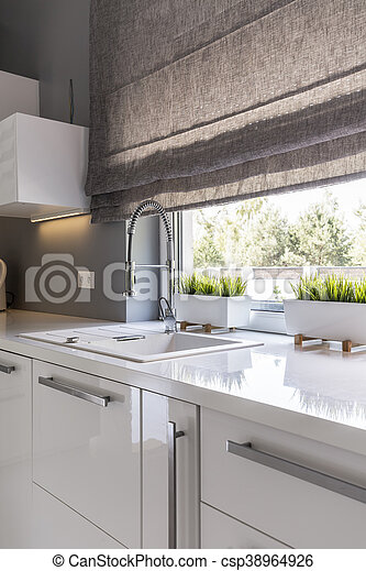 Kitchen With Roller Blinds Idea Image Of High Gloss White Modern Kitchen With Window Roller Blinds Canstock