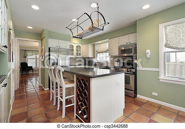 Kitchen with terra cotta floor tile - csp3442688