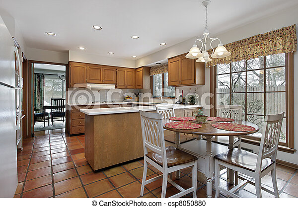 Kitchen With Terra Cotta Flooring Stock Photo