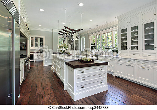 Kitchen with white cabinetry - csp3442733