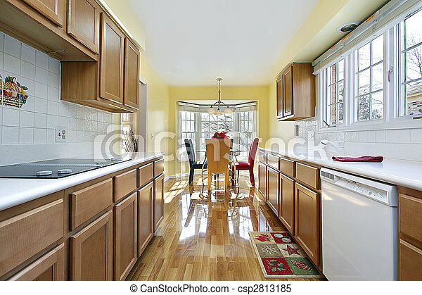 Kitchen with wood cabinetry - csp2813185