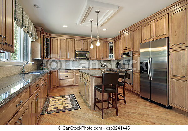 Kitchen with wood cabinetry - csp3241445