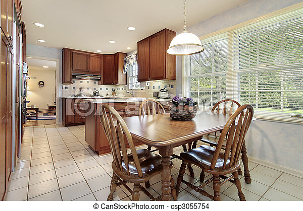 Kitchen with wood cabinetry - csp3055754
