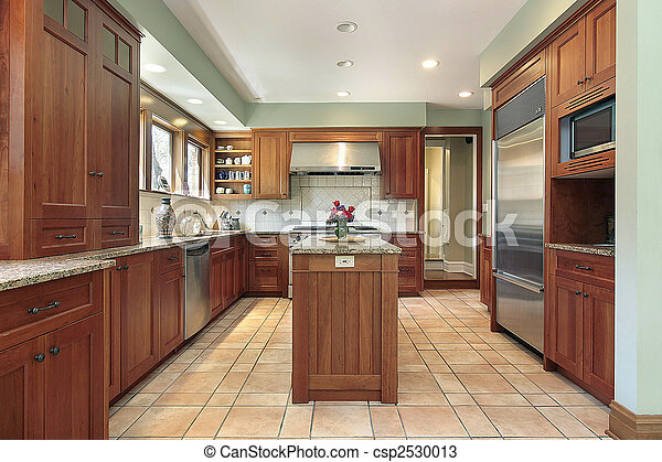 Kitchen with wood cabinetry - csp2530013
