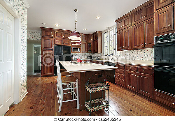 Kitchen with wood cabinets - csp2465345