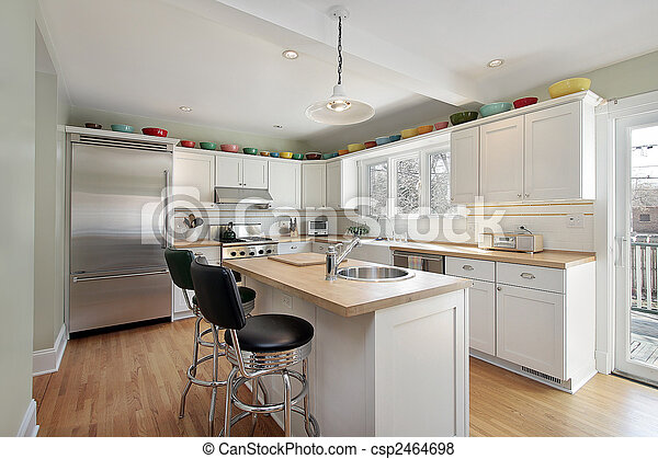 Kitchen with wood island - csp2464698