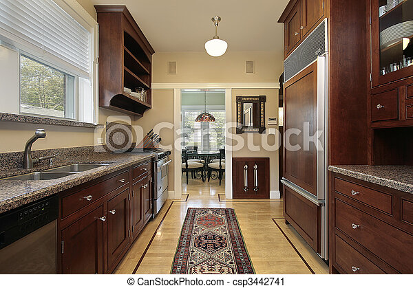 Kitchen With Wood Paneled Refrigerator Kitchen In Luxury Home With