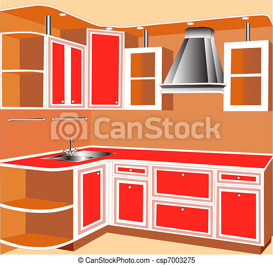 furniture for interior of the kitchens of the red color