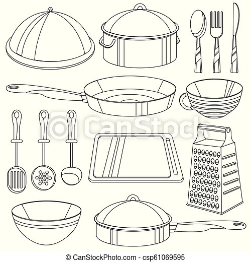 - Kitchenware Coloring Book. Vector Illustration For Children - Cooking  Equipment Icon Set - Frying Pan, Cup, Pan, Bowl, Board