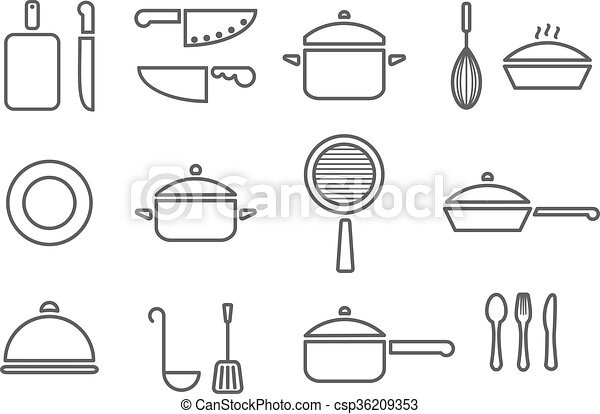 kitchenware line icons - csp36209353