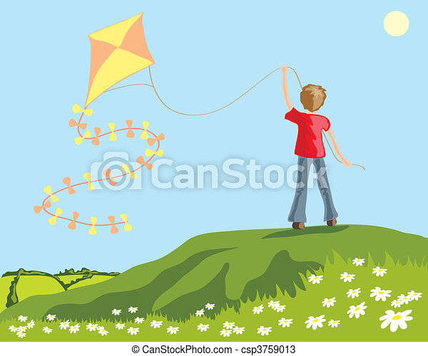 A Hand Drawn Illustration Of A Young Boy Flying A Kite On A Hillside