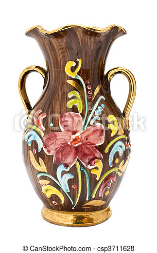 Kitsch vase with floral pattern and gilded details on white background. - csp3711628