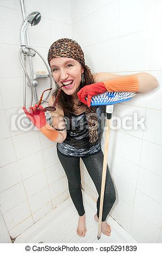kitsch woman in shower - csp5291839