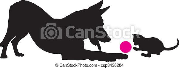Kitten and dog - csp3438284