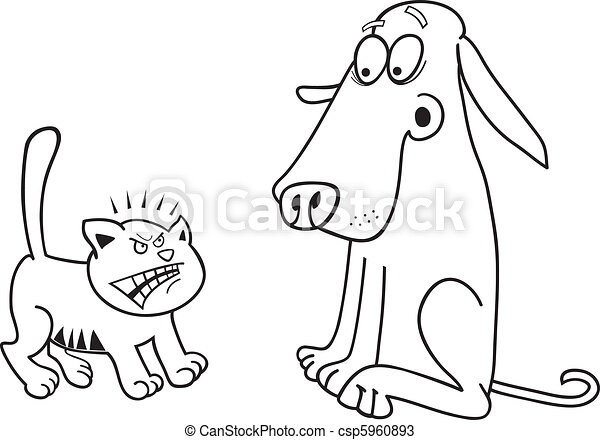 Kitten and dog for coloring book - csp5960893