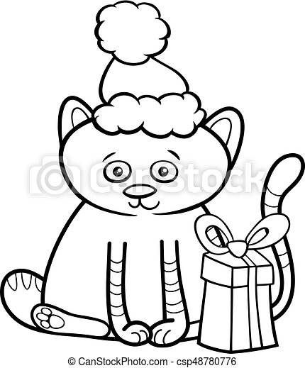 kitten on christmas coloring book csp48780776