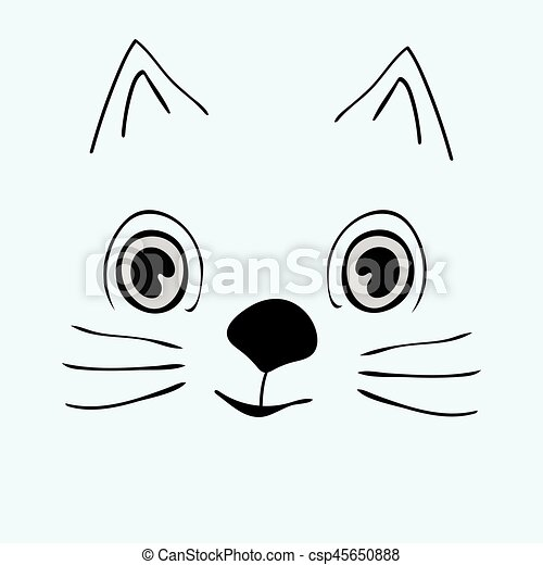 Kitty Cute Funny Cartoon Cat Head Vector Illustration