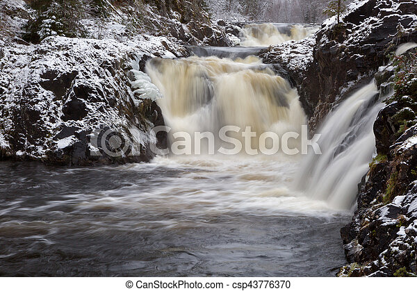 Kivach waterfall in the winter, Karelia, Russia - csp43776370