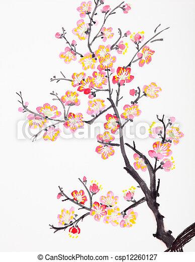 kivirul, menstruáció, szilva, festmény, kínai - csp12260127