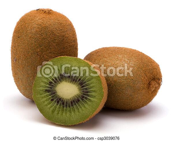 kiwi, bianco, frutta, isolato, fondo - csp3039076