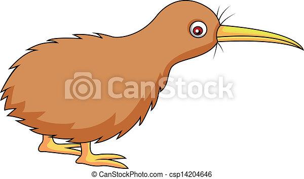 Vector Illustration Of Kiwi Bird Cartoon