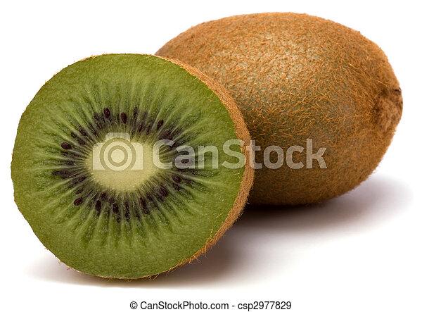 kiwi, branca, fruta, isolado, fundo - csp2977829