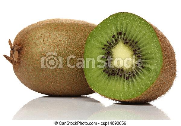 kiwi, branca, verde, isolado - csp14890656