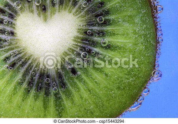 kiwi, coeur, couper, formé - csp15443294