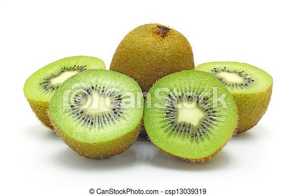 Kiwi fruit on a white background - csp13039319