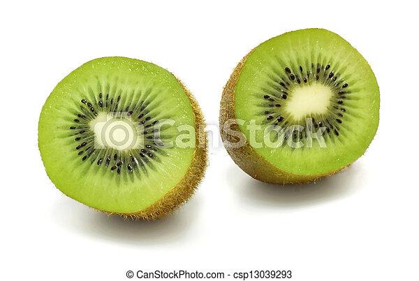 Kiwi fruit on a white background - csp13039293