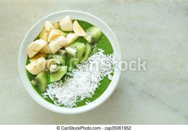 kiwi, plátanos, zalamero, tazón, coco, verde - csp35061952