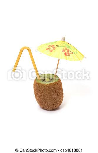 kiwi with umbrella and straw - csp4818881
