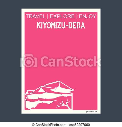 Kiyomizu-dera Kyoto, monumento al monumento de Japón folleto del estilo Flat y vector de tipografía - csp62297060