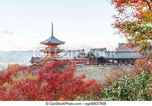 Kiyomizu or Kiyomizu-dera temple in autum season at Kyoto. - csp48637908
