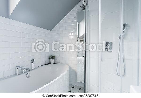 kizárólagos, fehér, fürdőszoba - csp28287515