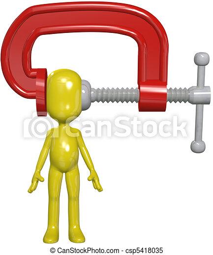 klamra, głowa, osoba, siła, ciśnienie, ściskać, ból głowy - csp5418035