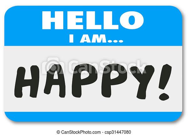 klant, naam, tevreden, label, woorden, hallo, vrolijke  - csp31447080